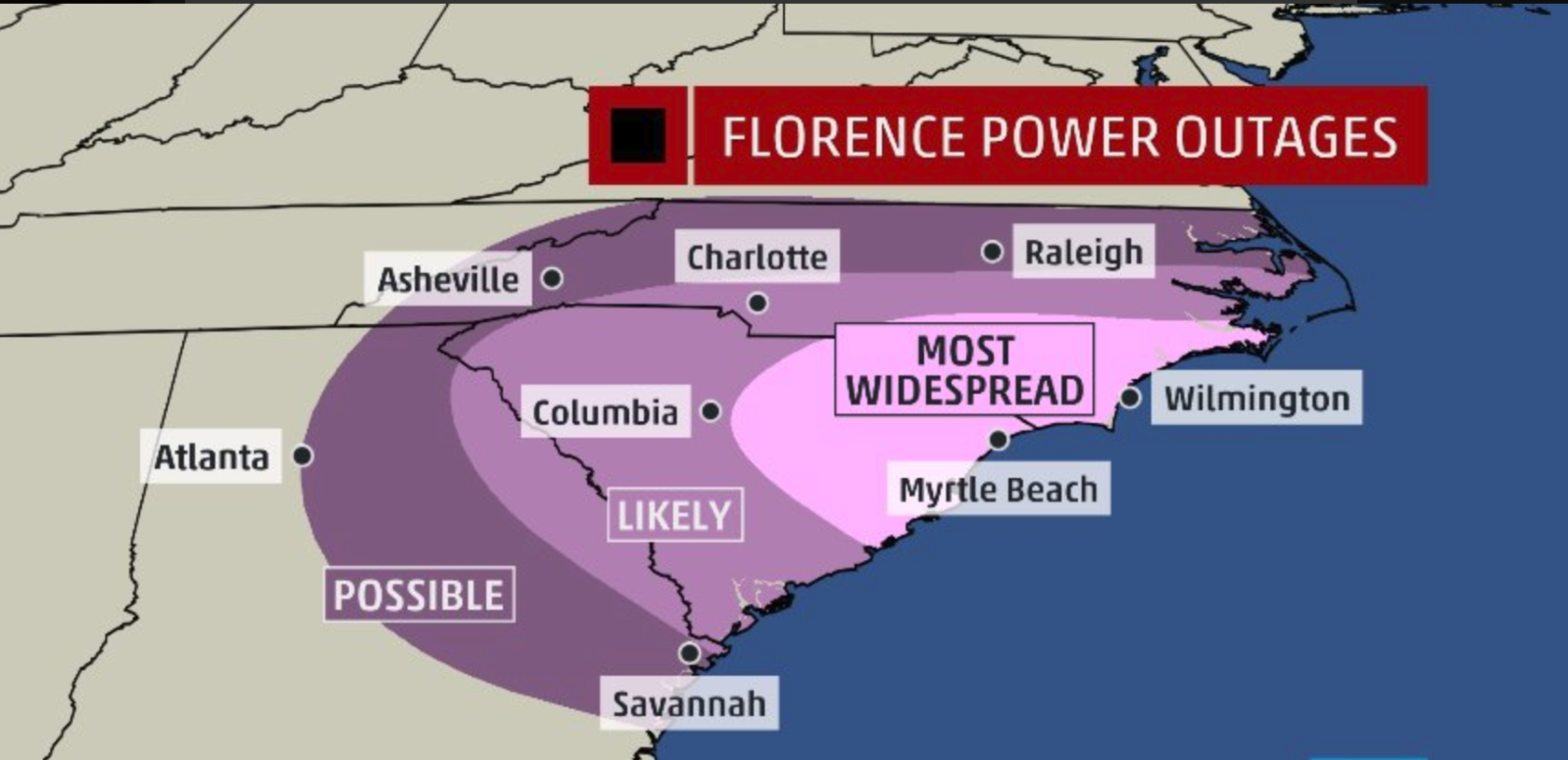 hurricane florence power outage map