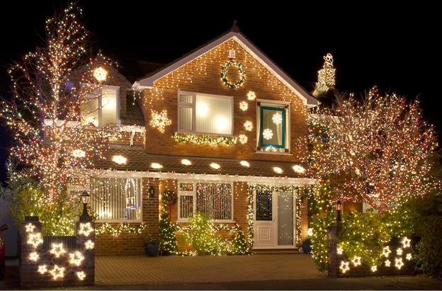 Holiday House with Lights