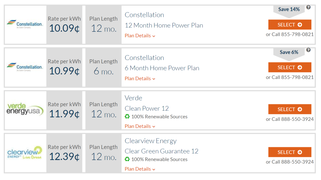 Example of the electricity rates comparison tool from ElectricityRates.com