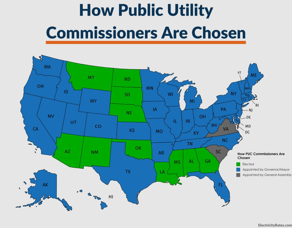 Graphic: State map of how Public Utility Commissioners are chosen