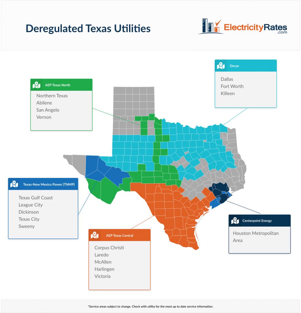 Deregulated Texas Utilities Map